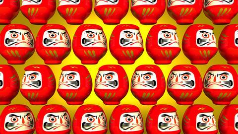 Spinning Red Daruma Dolls On Yellow Background CG動画