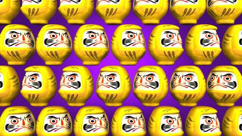 Spinning Yellow Daruma Dolls On Purple Background CG動画
