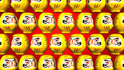 Spinning Yellow Daruma Dolls On Red Background CG動画