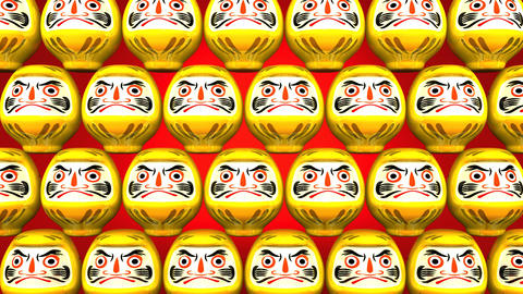 Stacking Yellow Lucky Daruma Dolls On Red Background CG動画