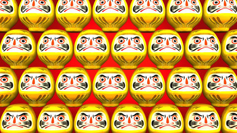 Stacking Yellow Lucky Daruma Dolls On Red Background Stock Video Footage