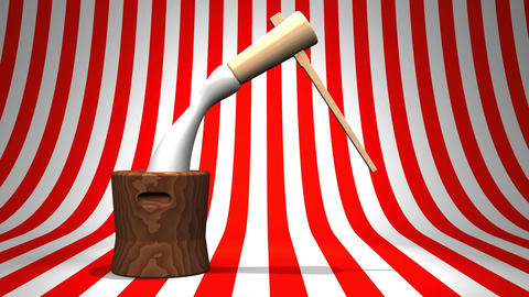 Loop Able Mochi Pounding On Red White Background Animation