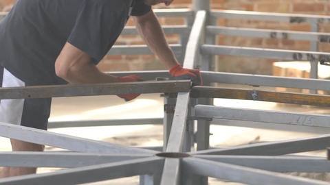 Slow Motion Metal Structures For Construction Of Buildings Live Action
