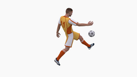 The football player is training, stuffing the ball ,loop, animation, Alpha Animation
