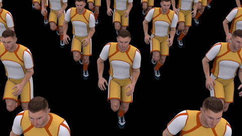 running football players , loop, animation, Alpha channel Image