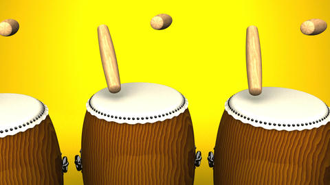 Loopable Asian Drums On Yellow Background Animation
