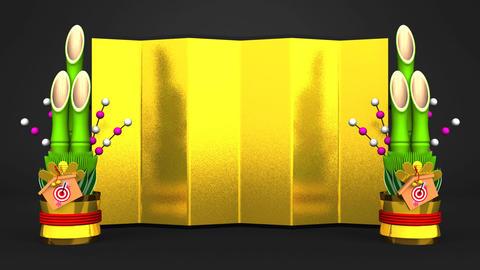 Big Kadomatsu And Golden Screen On Black Background CG動画