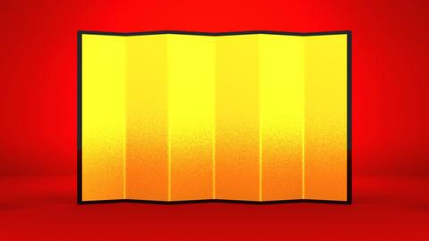 Big Kadomatsu And Golden Screen On Red Background 動画素材, ムービー映像素材