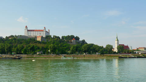 bratislava castle view, slovakia, timelapse, zoom out, 4k Footage