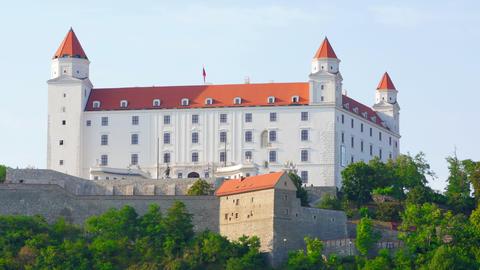 bratislava castle view, slovakia, timelapse, zoom in, 4k Footage