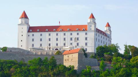 bratislava castle view, slovakia, timelapse, 4k Footage