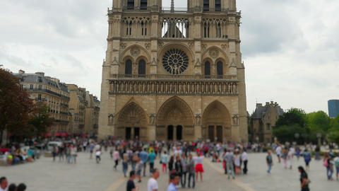 notre dame de paris cathedral, france, timelapse, 4k Footage