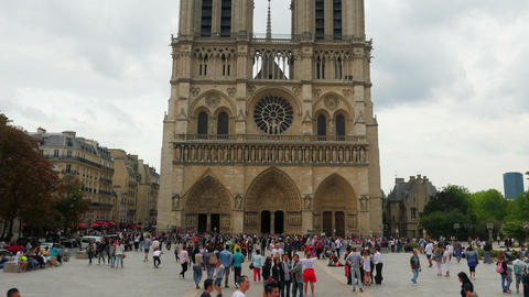 PARIS - FRANCE, AUGUST 2015: notre dame cathedral, timelapse Footage