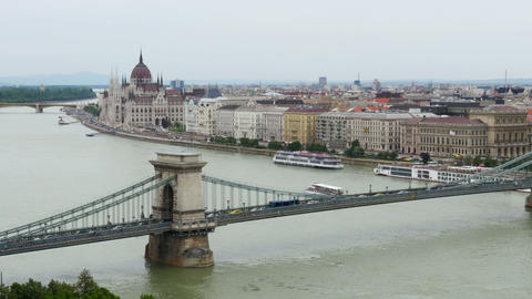 Budapest View with Parliament Building and Danube River, Timelapse, 4k Footage