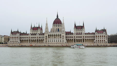 BUDAPEST - HUNGARY, AUGUST 2015: Parliament Building, Danube River Timelapse Footage