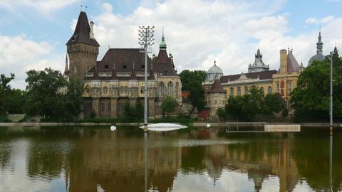 vajdahunyad castle, budapest, hungary, timelapse, zoom in, 4k Footage