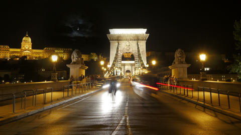 Chain Bridge view at night, budapest, hungary, timelapse Footage
