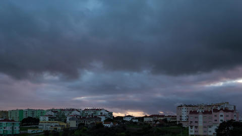 Dark Heavy Storm Clouds over City, timelapse Footage
