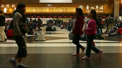 Ticket lobby at Taipei Train Station, 4K Live Action