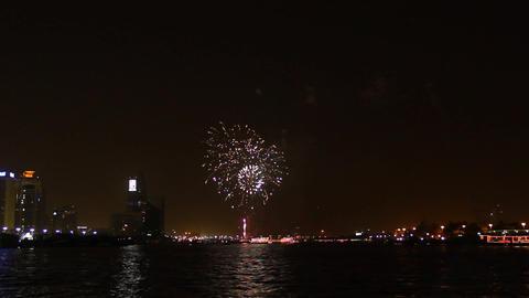 Fireworks explosion over Dubai Creek. Celebrate Eid al-Fitr at august 2013 Footage
