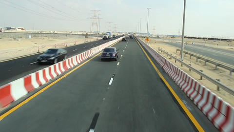 POV drive time lapse, way from Jebel Ali to Al Maktoum International Airport Footage