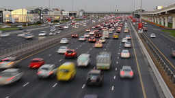 Dense traffic gather to congestion, jam at Sheikh Zayed road, time lapse Footage