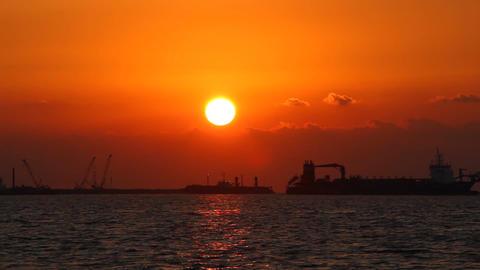 Vibrant Sunset Color Over Arabian Gulf, Artificial Island Development Area stock footage