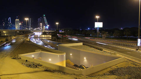Night roads, overground, underpass entrance, recessed highway, time lapse Footage