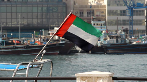 United Arab Emirates flag on wind, close view, Dubai Creek shore blurred on back Footage