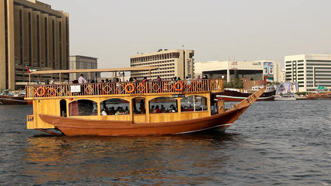 Cruise restaurant dhow boat depart from shore, popular touristic attraction Footage
