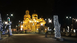Seamless Loop Motion Background Long Shot At Varna Cathedral At Night With stock footage