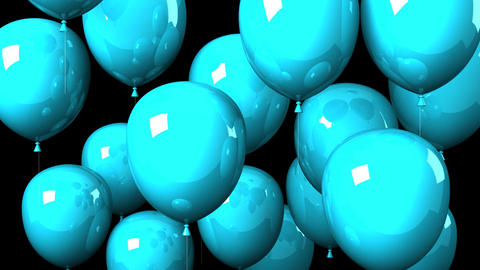 Blue Balloons On Black Background CG動画