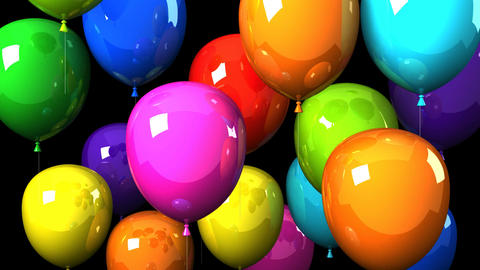 Colorful Balloons On Black Background CG動画
