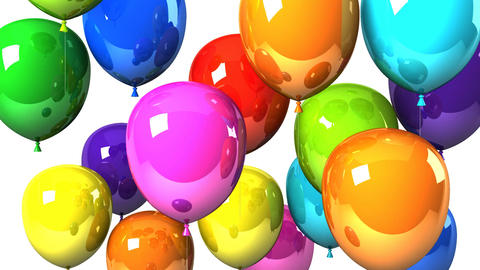 Colorful Balloons On White Background CG動画