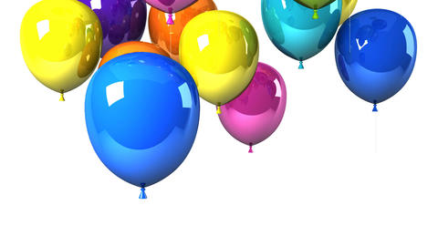 Colorful Balloons On White Background, CG動画素材