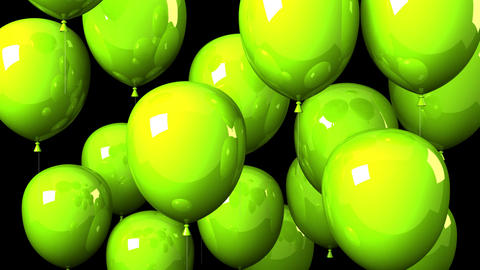 Green Balloons On Black Background Animation