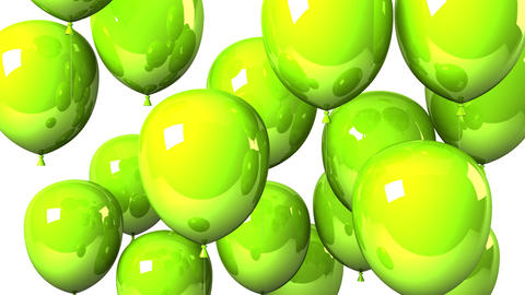 Green Balloons On White Background CG動画