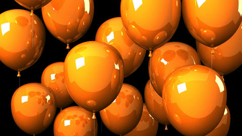 Orange Balloons On Black Background CG動画