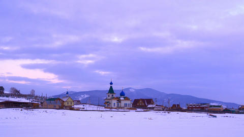 Morning at the Chapel in a village at Lake Baikal 4K UltraHD Footage