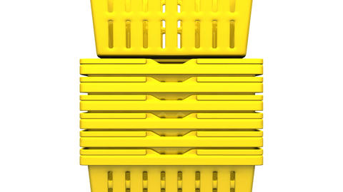 Closeup Of Yellow Shopping Baskets On White Background Animation