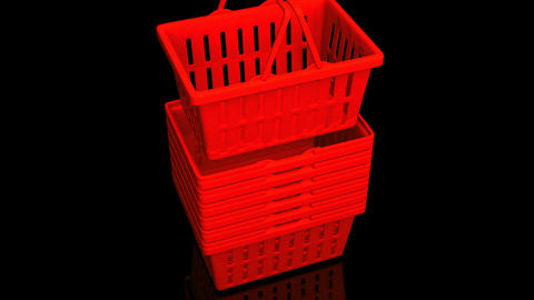 Top Of Red Shopping Baskets On Black Background Animation