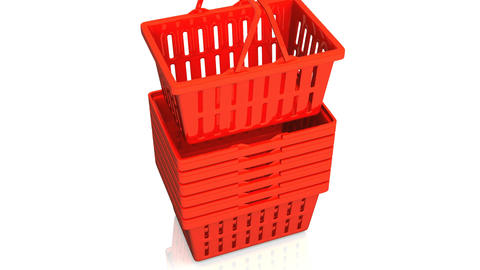 Top Of Red Shopping Baskets On White Background Animation
