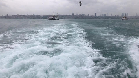 a view from the back grotto of the bosphorus in istanbul, slowmotion Footage