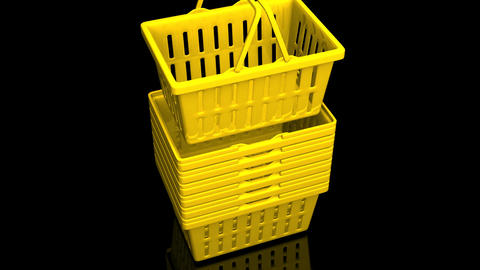 Top Of Yellow Shopping Baskets On Black Background Animation