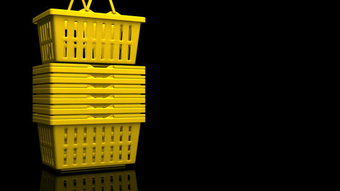 Yellow Shopping Baskets On Black Text Space Animation
