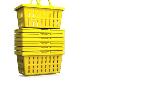 Yellow Shopping Baskets On White Text Space Animation