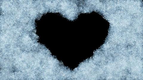 Beautiful Animation of Freezing Window forming Heart Shape. Alpha Mask. Freezing Animation