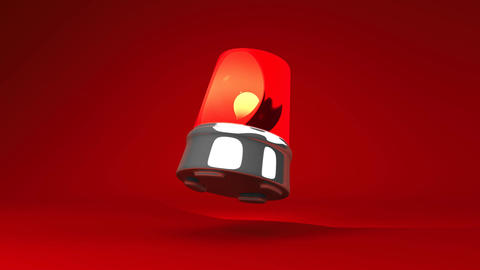 Jumping Red Warning Light On Red Background Animation
