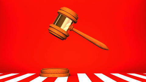 Wooden Judge Gavel On Red White Background CG動画
