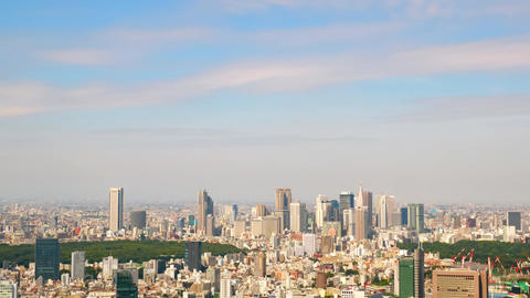 Skyscrapers and early autumn sky in Shinjuku, Japan ( Timelapse video zoom out ) Footage